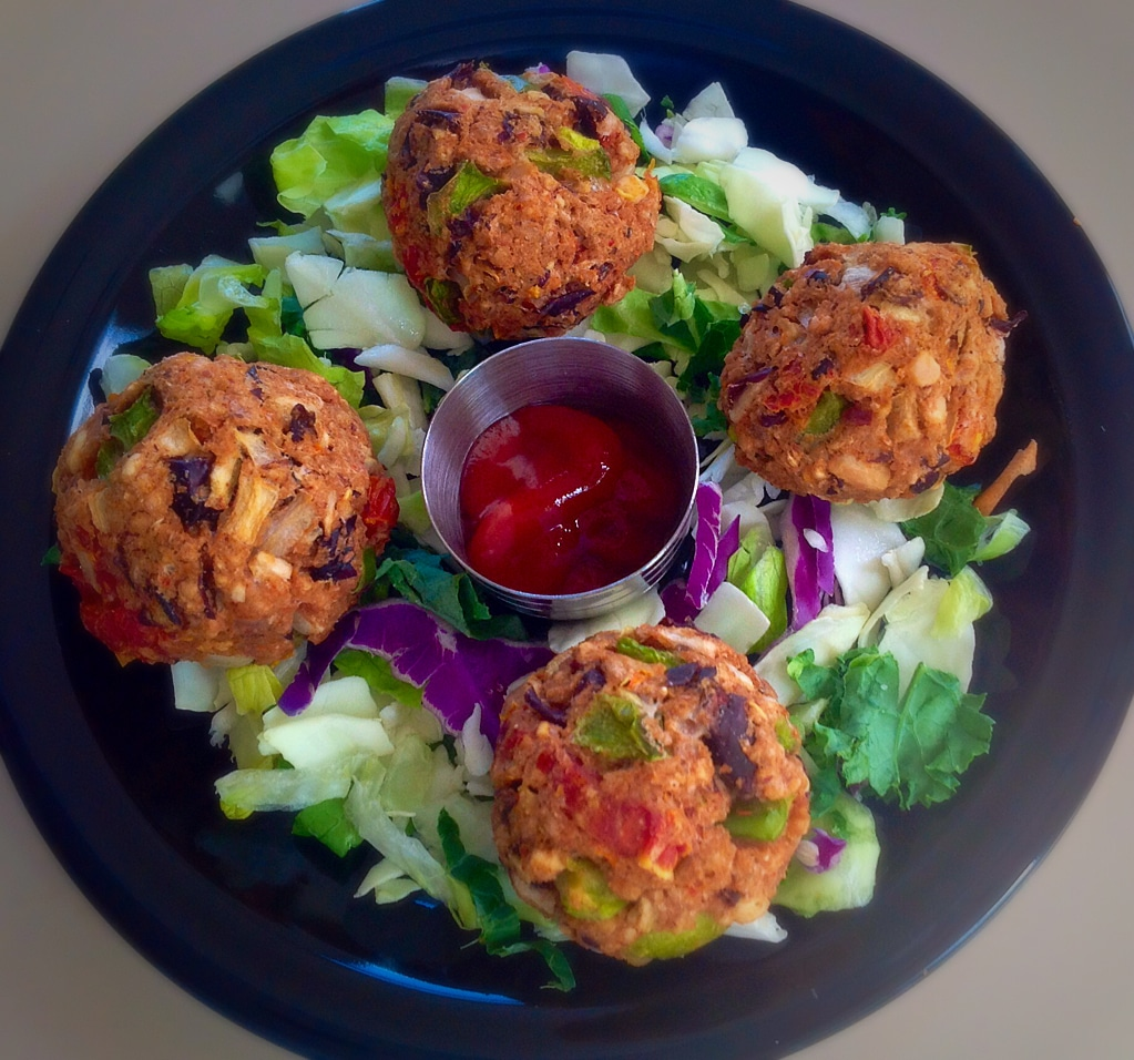 Top view of Farro Kidney Beans Balls with a side salad