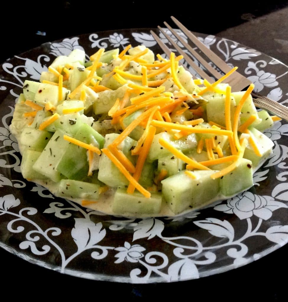 Front view of simple cucumber salad