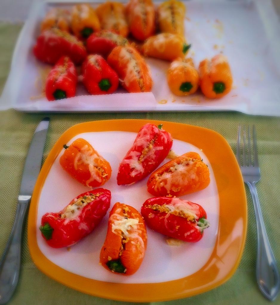 Pine Feta Stuffed Mini Sweet Peppers on the serving plate