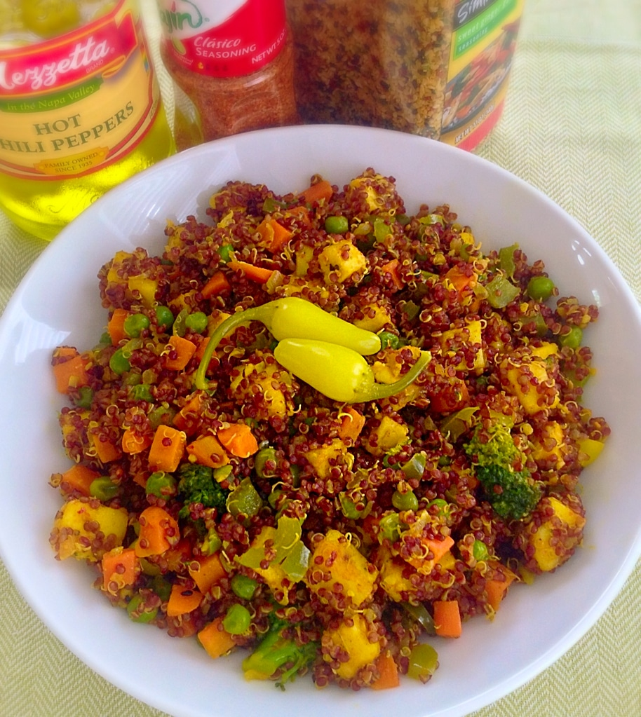 A 45 degree angle view of red quinoa & asian paneer fusion