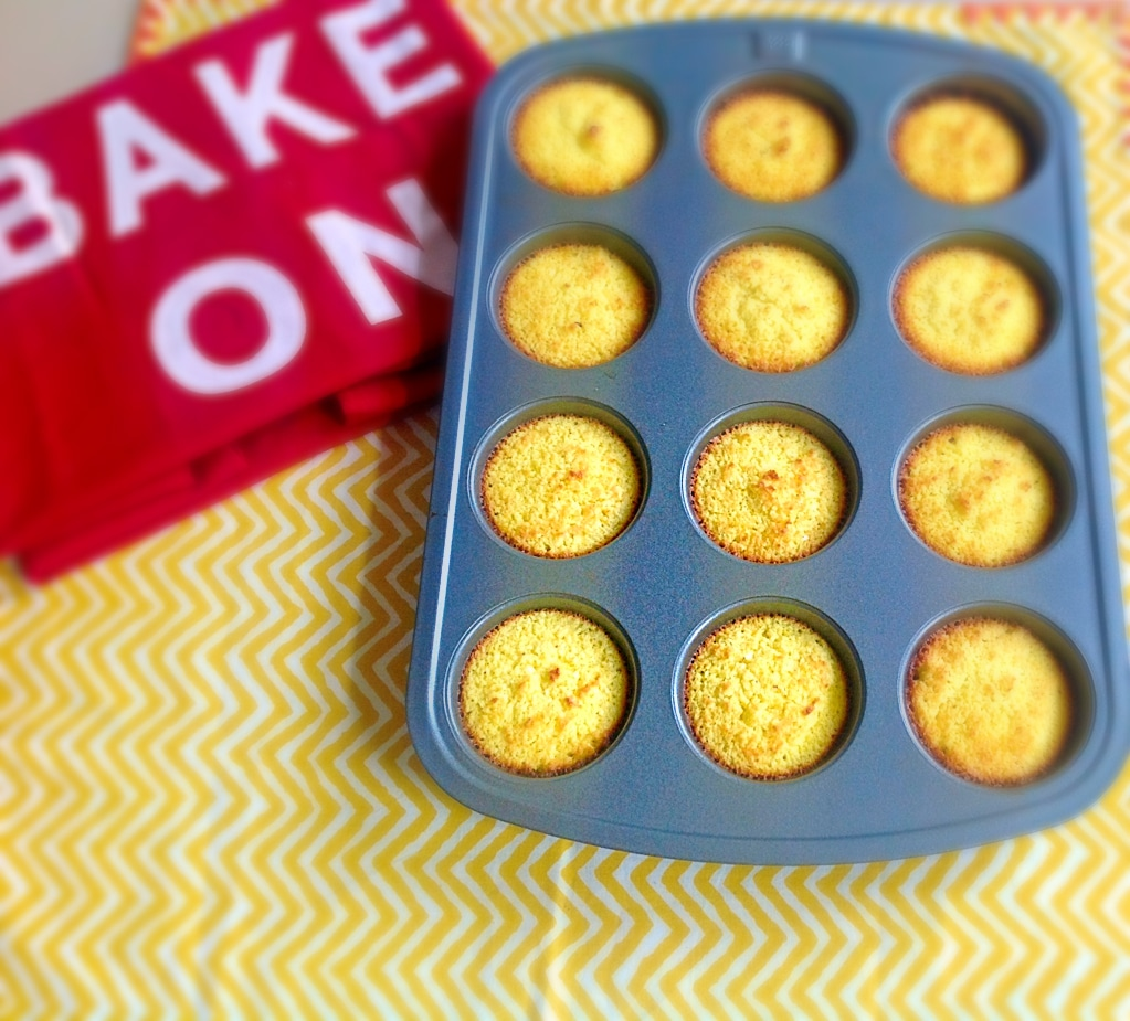Top view of easy orange macaroons in the muffin tray