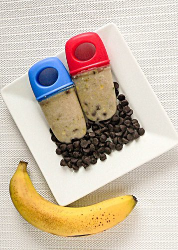 Top view of Baked Banana Chocolate Popsicles