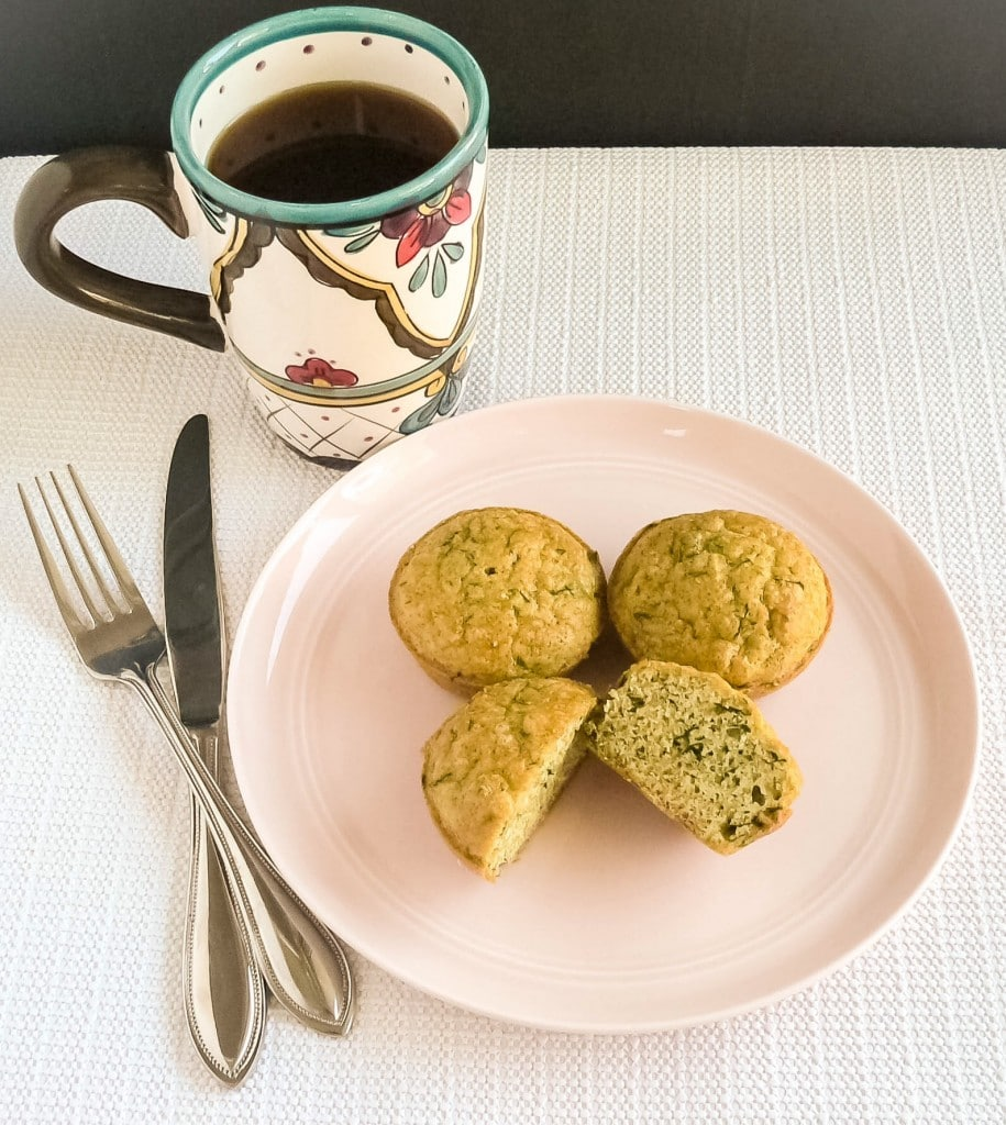 Spinach Almond Amaranth Breakfast Muffins on a serving plate