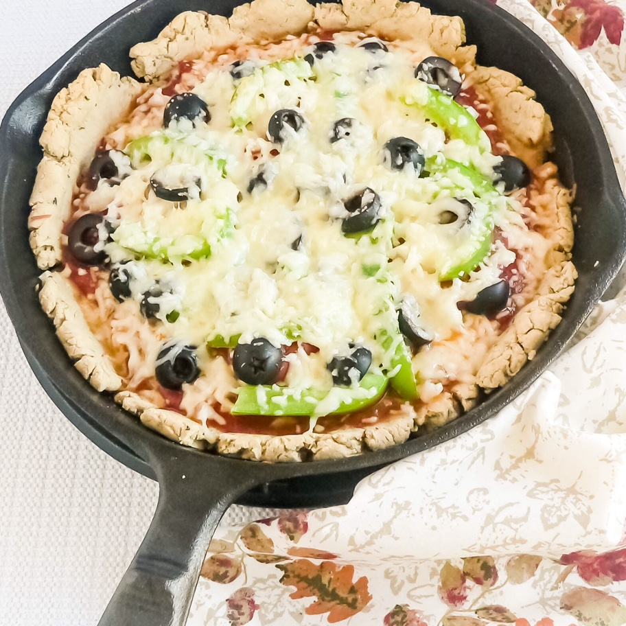 Oatmeal Almond Pizza Crust with the toppings