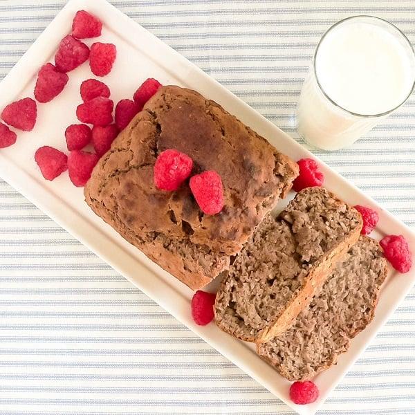 Top view of pan roasted raspberries bread