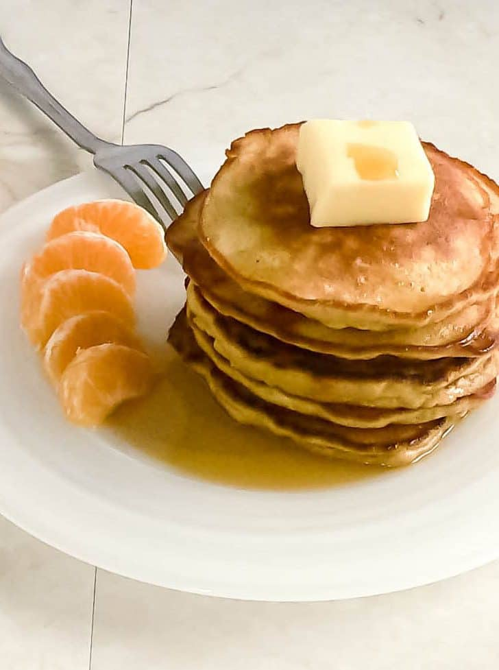 A 45 degree angle view of the stacked pancakes