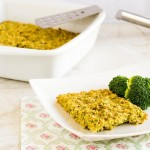 A plate with broccoli oatmeal slice with the baking pan at the backdrop