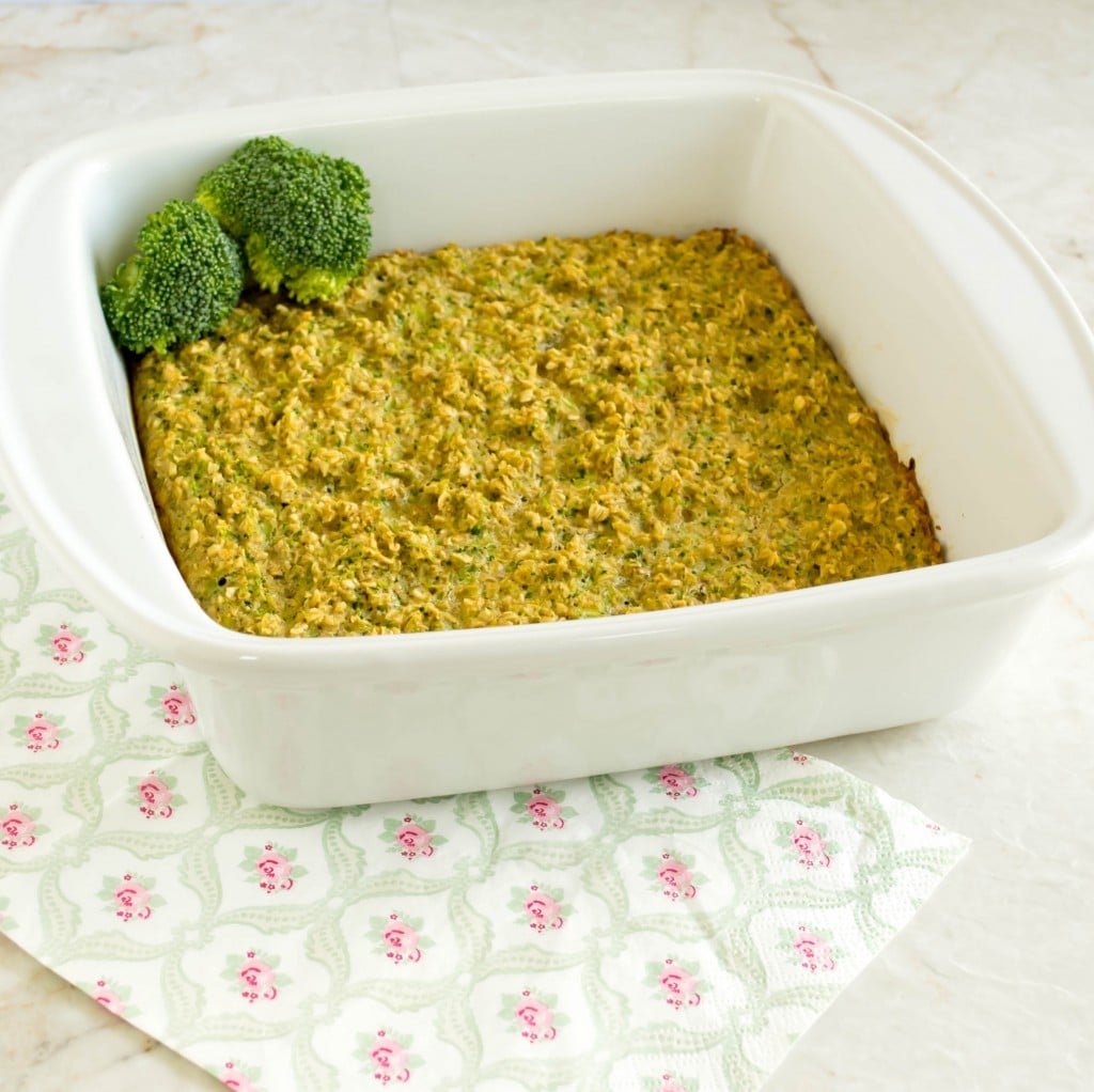 broccoli oatmeal breakfast casserole fresh out of the oven