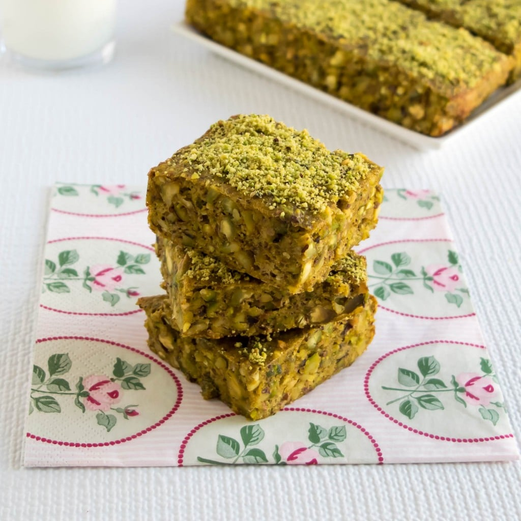 45 degree angle of the stack of gluten free butternut squash pistachio bars