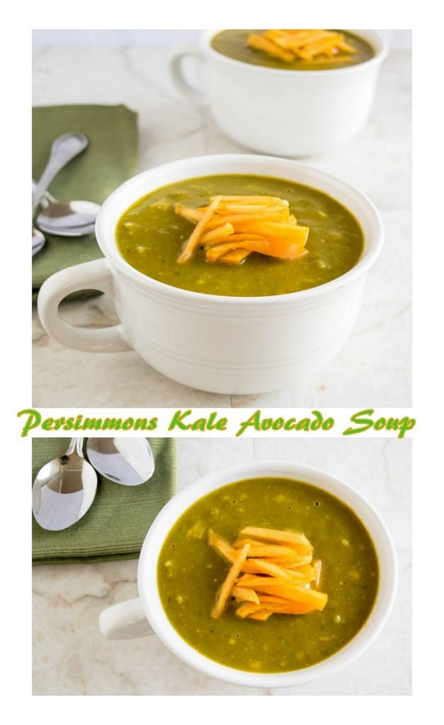 Persimmons Kale Avocado Soup served in white soup bowls