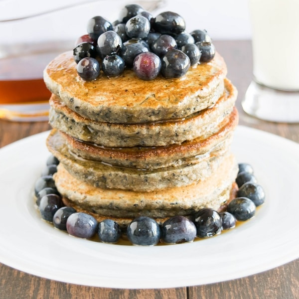 Stacked Blueberry Smoothie Spelt Pancakes