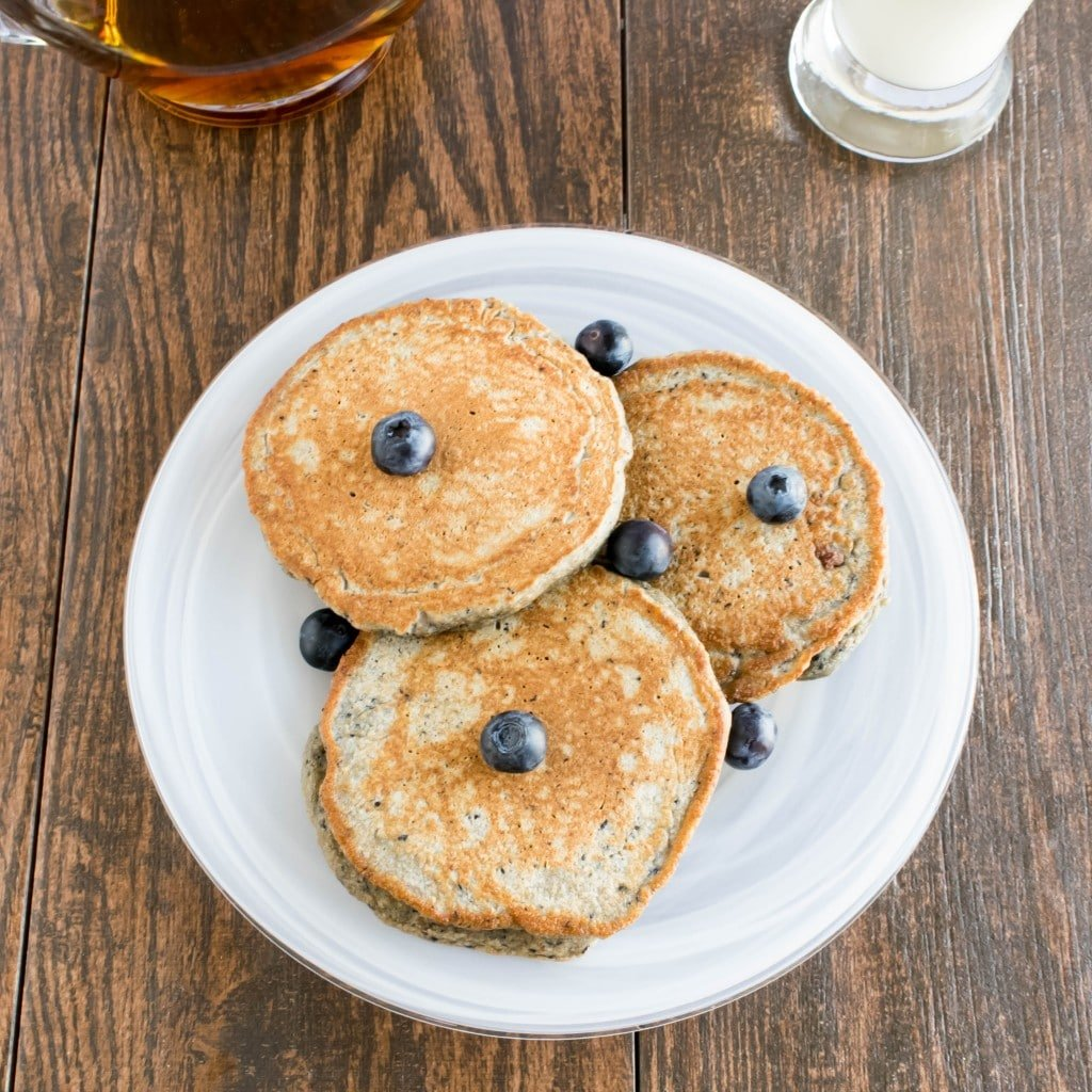 Blueberry Smoothie Spelt Pancakes on a serving plate