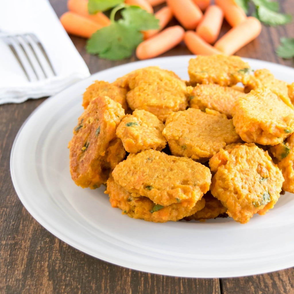 a 45 degree angle view of skinny carrot fritters