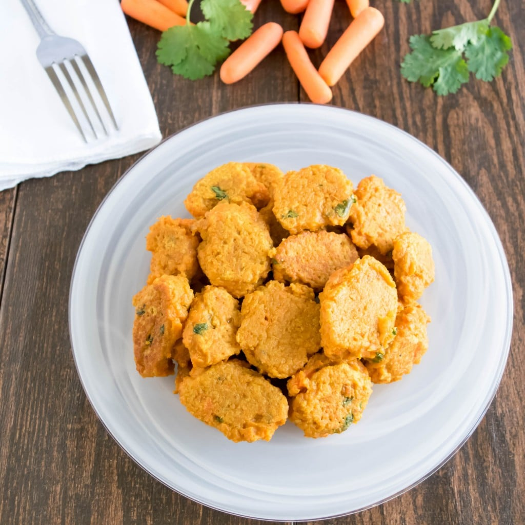 top view of served carrot fritters