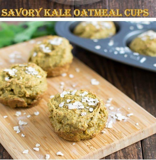A 45 degree of Savory kale Oatmeal Cups