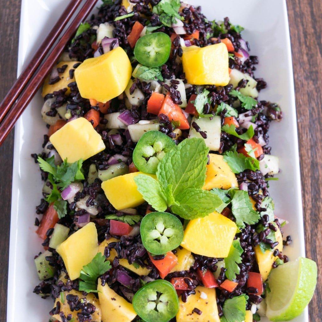 Top close up view of black rice mango salad