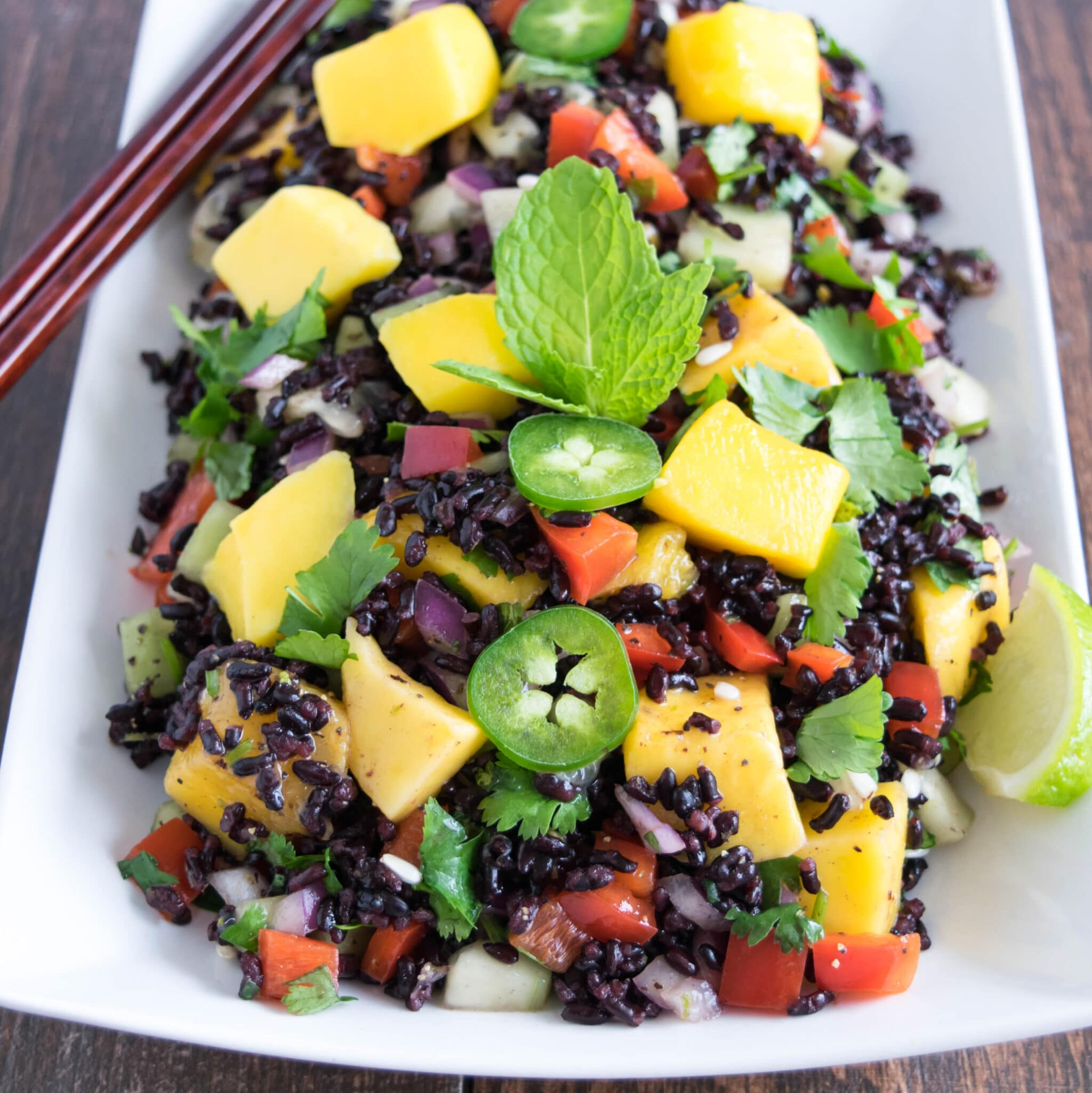 Within minutes Black Rice Mango Salad was ready and I fell in love ...