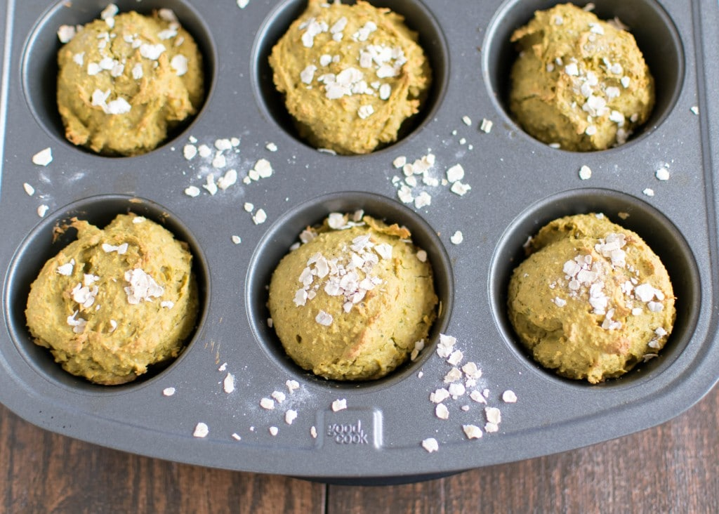Savory Kale Oatmeal Cups in the muffin tray