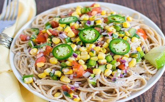 Almond Sauce Spaghetti with Corn Salsa