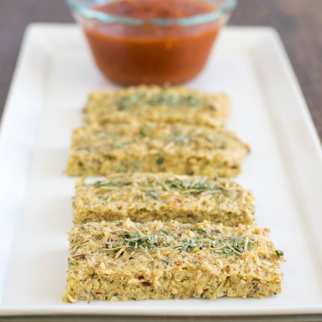 a front view of quinoa almond herbed bread sticks