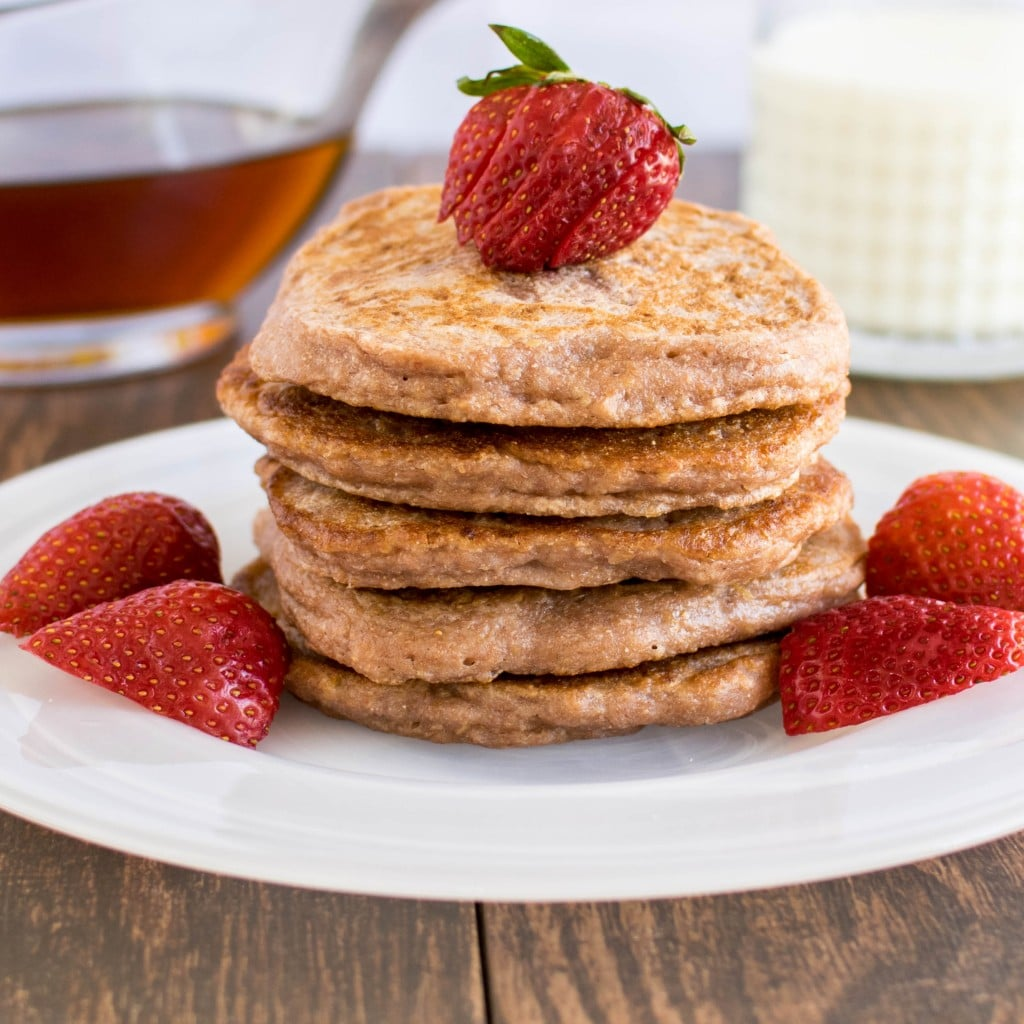 A stack of caramelized strawberry sauce pancakes