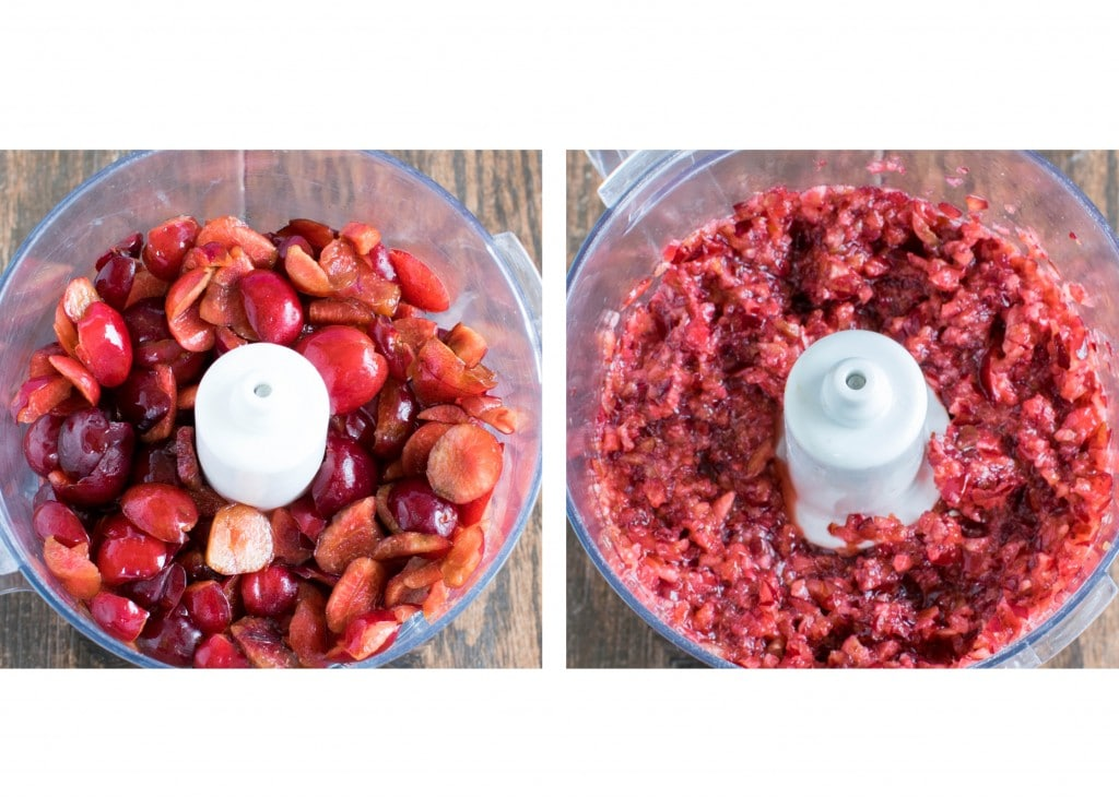 Fresh cherries in the food processor