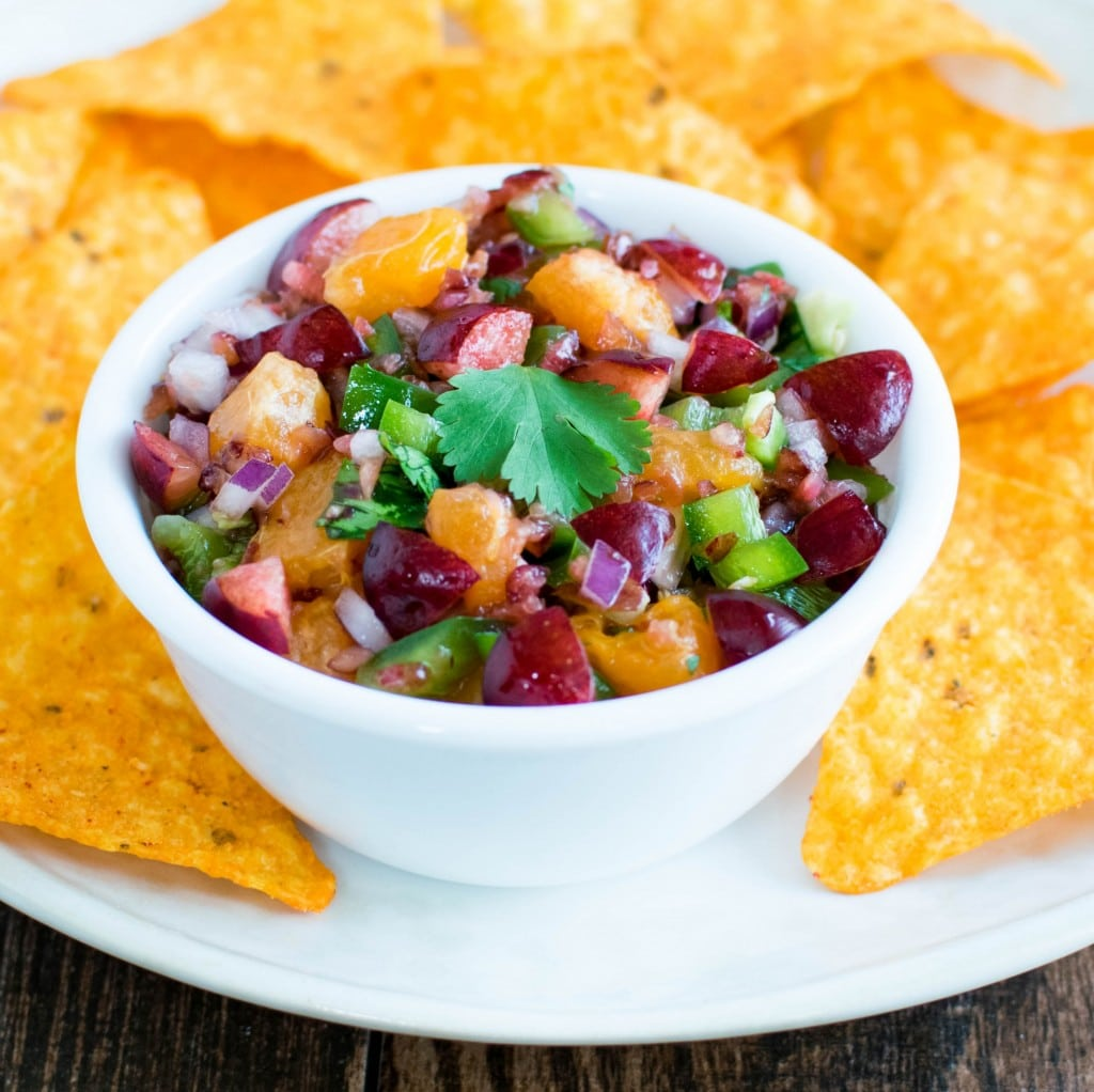 Cherry Orange Salsa in a serving bowl with chips