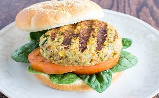 A front view of Chickpeas Zucchini Burger