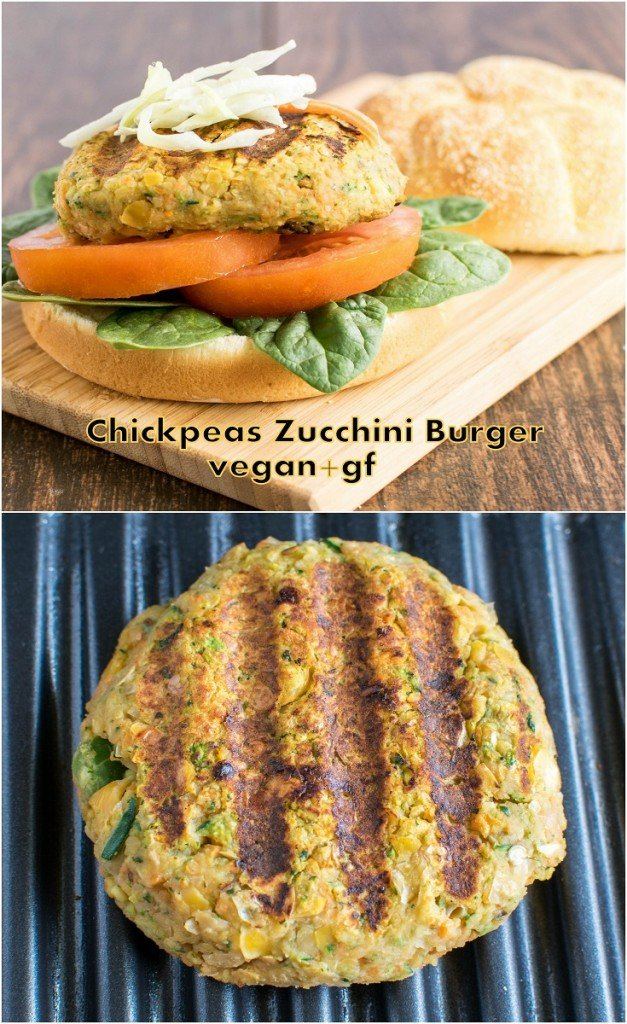 Multiple images of Chickpeas Zucchini Burger