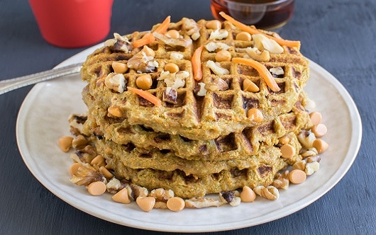 A front view of the whole butterscotch carrot millet waffles