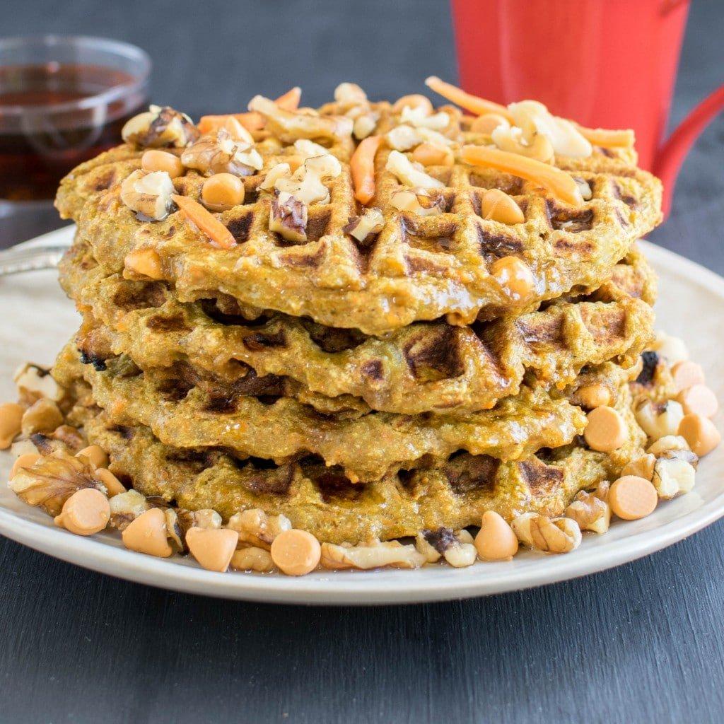 A stack of butterscotch carrot millet waffles