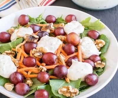 Kale Arugula Salad with Yogurt Dip| Yummy refreshing salad with the combination of greens, fruits nuts and yogurt. Healthy and lip smacking| kiipfit.com