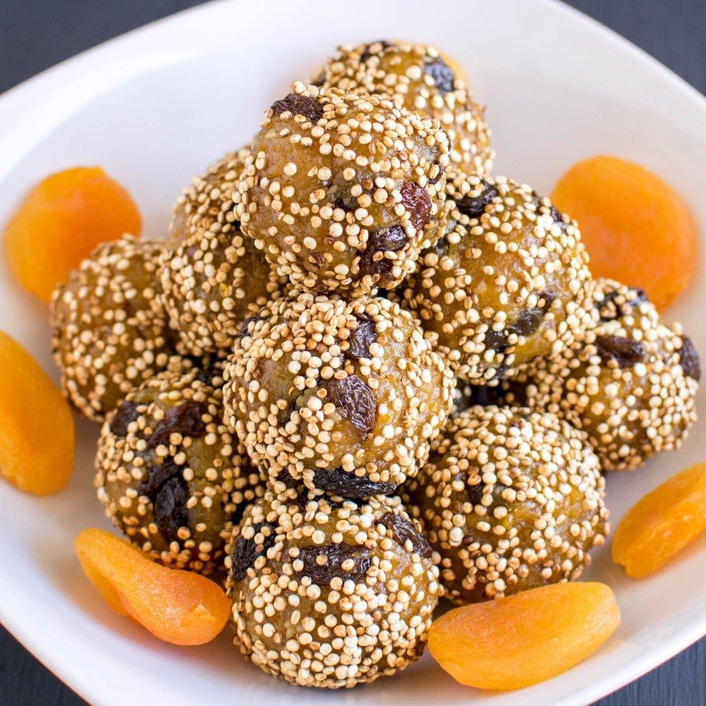 A close up view of No Bake Apricot Quinoa Bites
