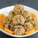 A front view of the stack of No Bake Apricot Quinoa Bites