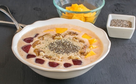 A front view of Carrot Oatmeal Smoothie Bowl