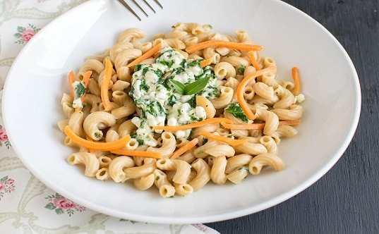 A close up view of Cottage Cheese Spinach Pasta