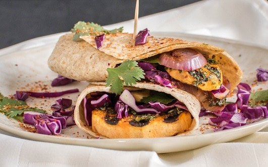 Stacked grilled sweet potato wraps
