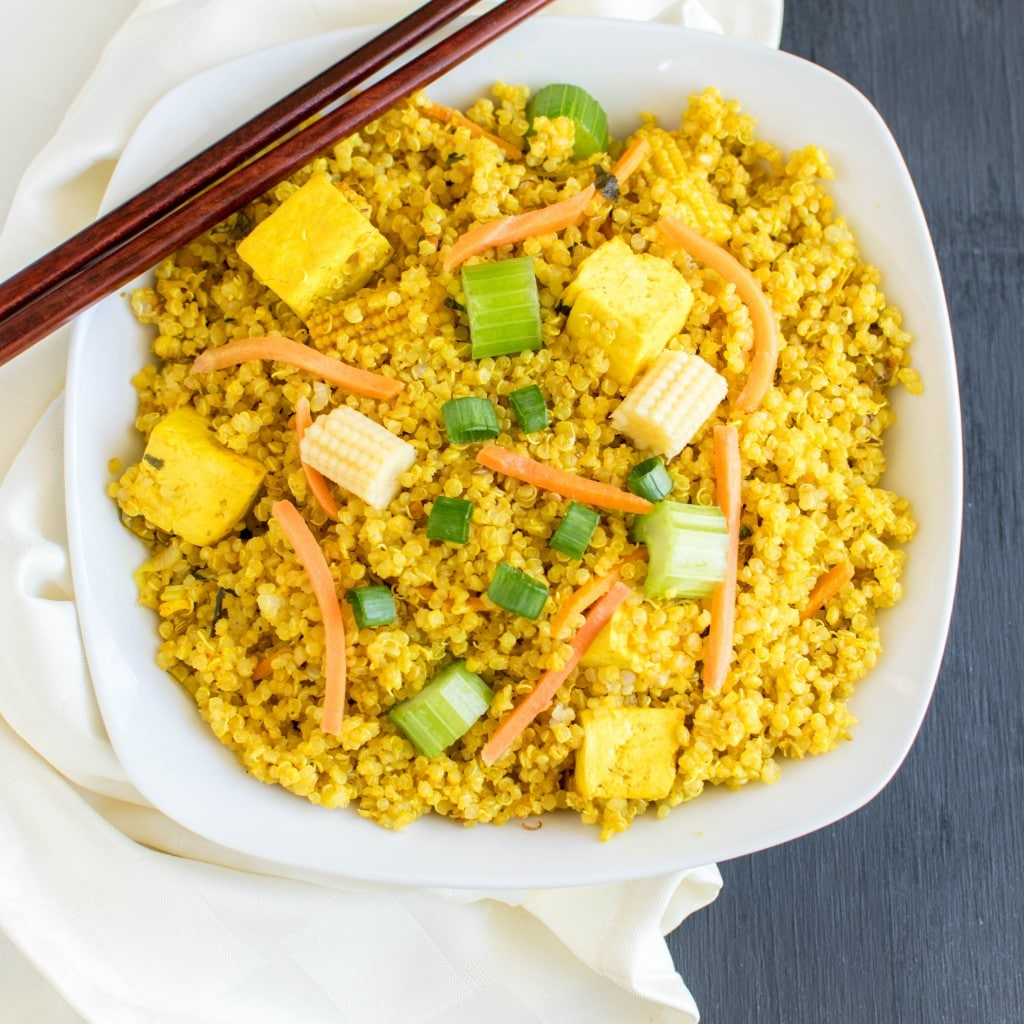 Top view of Yellow Curry Veggie Quinoa with Tofu