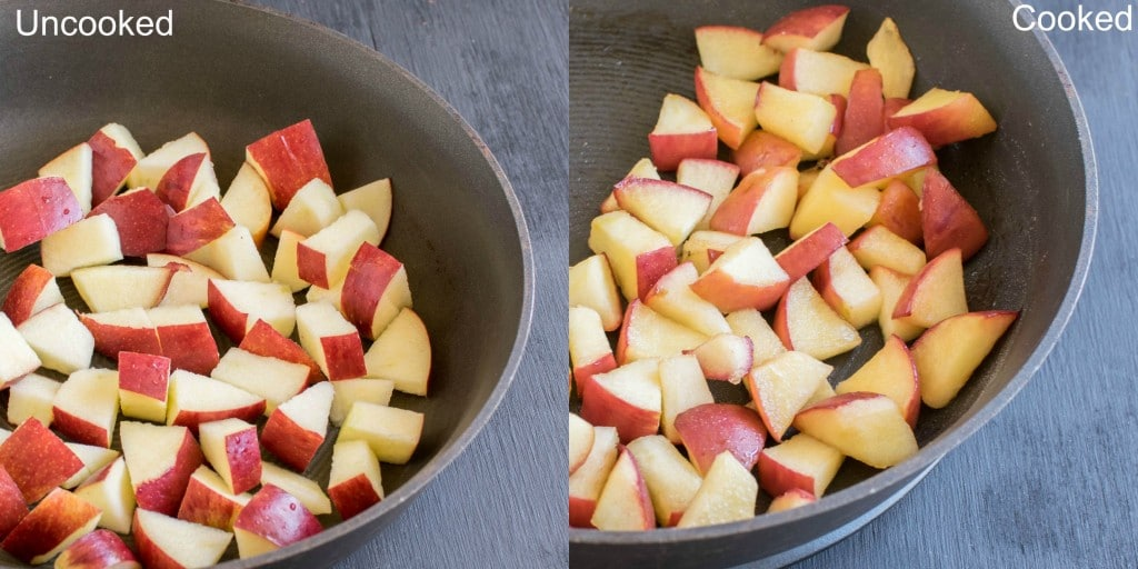 Before and after cooked apples