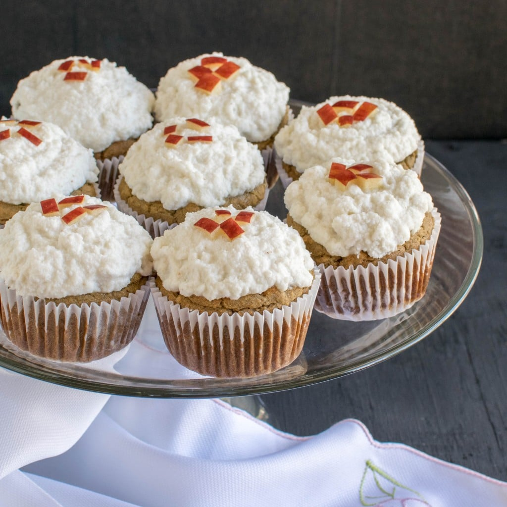 A front view of Apple Oatmeal Cupcakes with Vegan Vanilla Frosting