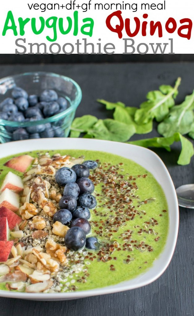 A close up of Arugula Quinoa Smoothie Bowl with the ingredients as the props