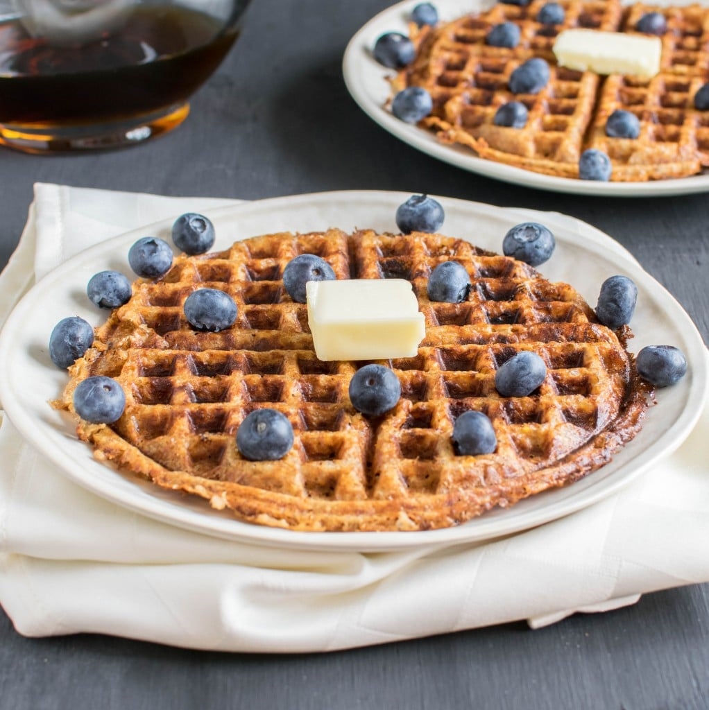 a front view of the whole peanut butter bulgur waffles served.