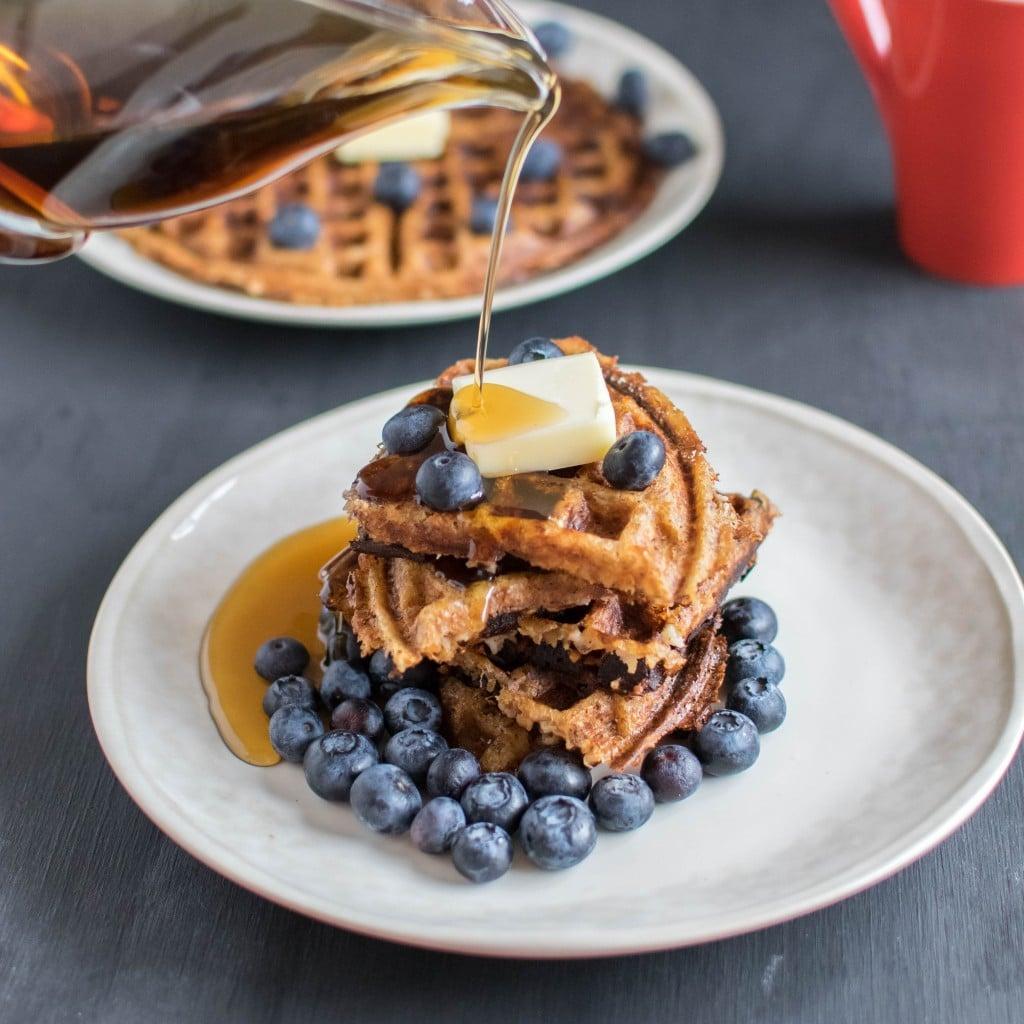 stacked peanut butter bulgur waffles