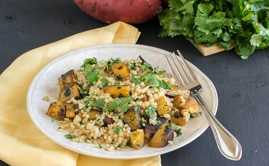 A front full view of Cajun Spiced Sweet Potato Cilantro Pilaf