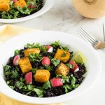 A 45 degree angle view of Cajun Butternut Squash Black Rice Salad
