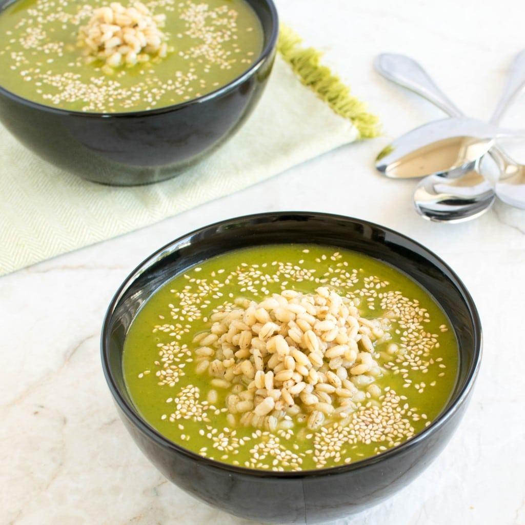 A 45 degree angle view of Cajun Spiced Barley Kale Soup