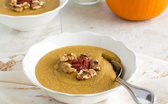 Pumpkin Amaranth Porridge in the serving bowl with a spoon