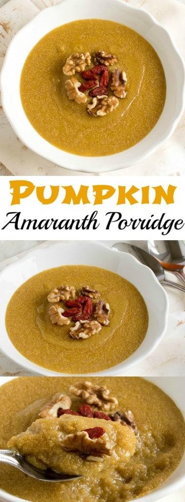 Multiple images of Pumpkin Amaranth Porridge