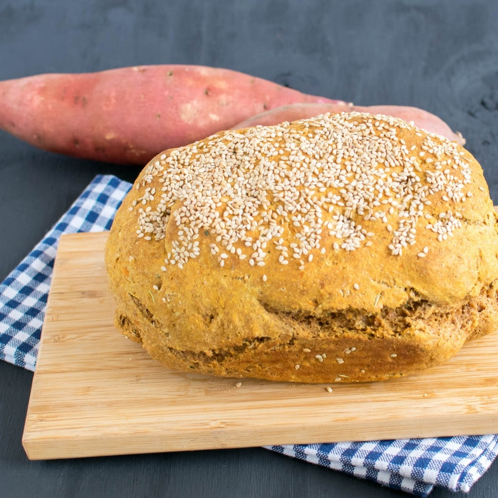 Baked bread on a wooden surface