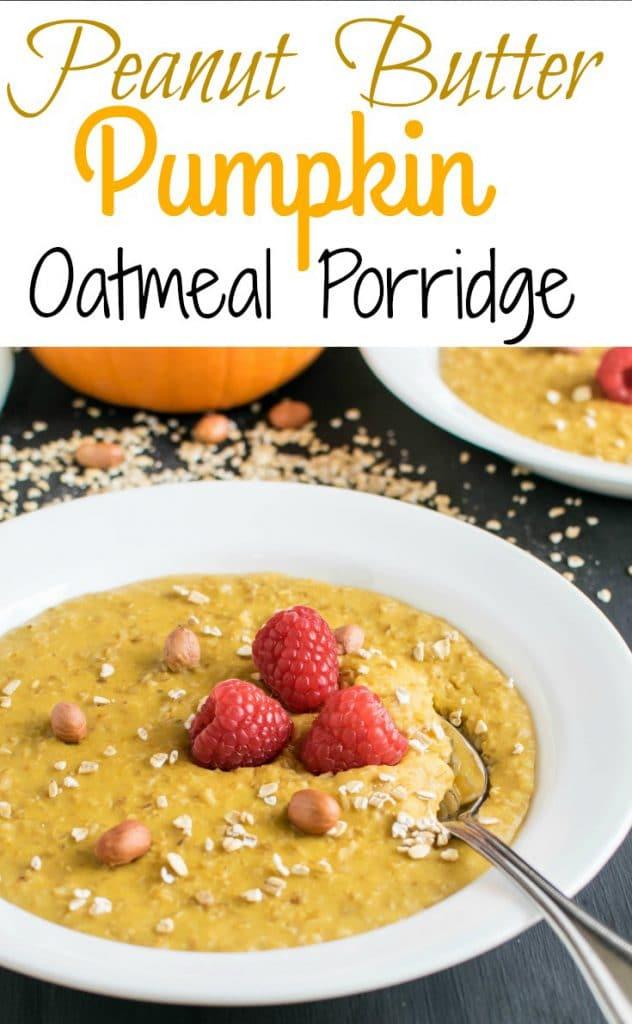 A spoon scooping in Peanut Butter Pumpkin Oatmeal Porridge